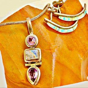 Set! Opal Earrings w/Moonstone & Amethyst Necklace